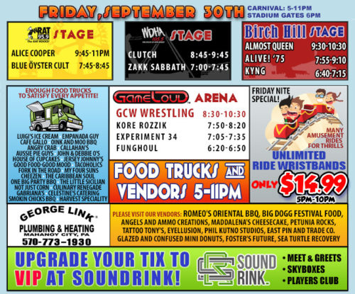 Rock Carnival Friday Schedule
