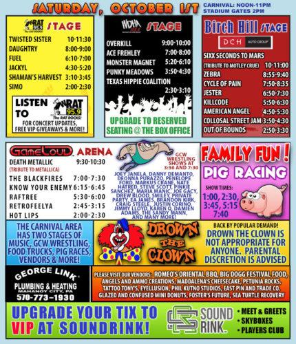 Rock Carnival Saturday Schedule